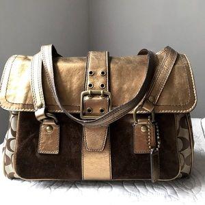 Authentic Limited Edition Coach Canvas & Suede Bag